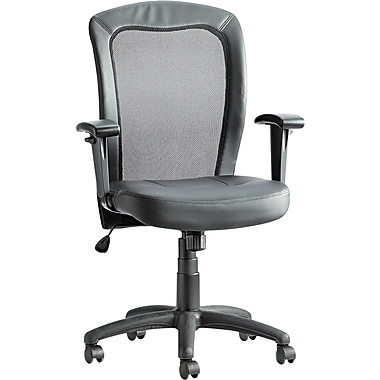 Alera Leather Managers Office Chair, Fixed Arms, Black (ALEEA42ME10B)
