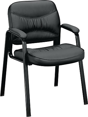 basyx by HON® VL643 Leather Guest Chair, Black SofThread Leather (BSXVL643SB11)