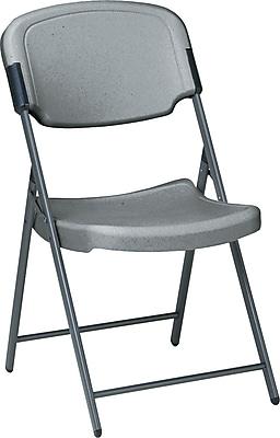 Iceberg Rough N Ready Folding Chair Blow Molded Polyethylene Breakroom & Hospitality, Charcoal