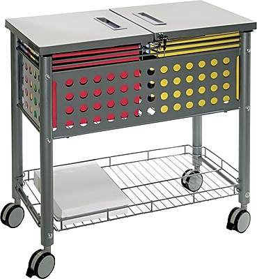 Vertiflex™ Mobile File Carts Steel, Wire, Matte Gray, 28 3/8