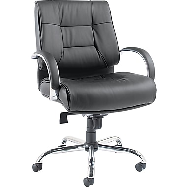 Alera Ravino Leather Executive Office Chair, Fixed Arms, Black (ALERV45LS10C)