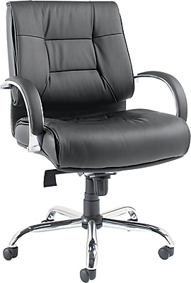 Alera Ravino Big & Tall Series Mid-Back Executive Chair, Leather, Black, Seat: 22 7/8