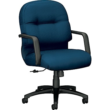 HON Pillow-Soft Fabric Computer and Desk Office Chair, Fixed Arms, Mariner (HON2092NT90T)