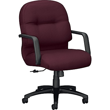 HON Pillow-Soft Fabric Computer and Desk Office Chair, Fixed Arms, Wine (HON2092NT69T)