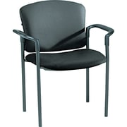 HON® Pagoda® Stacking Guest Chair, Fixed Arms, Black Vinyl, 2/Carton (HON4071EE11T)