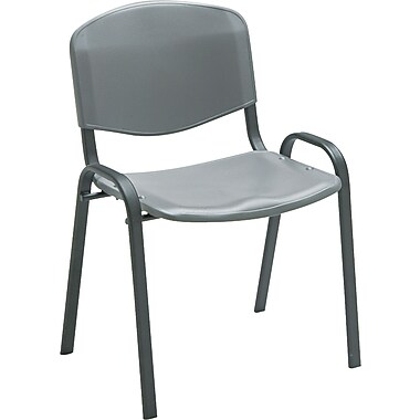 Safco 4185CH Plastic/Steel Stack Chair, Charcoal