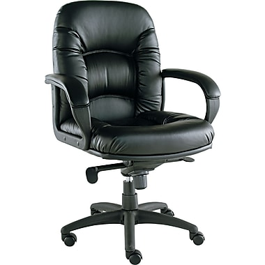 Alera ALENI42CS10B Nico Faux Leather Mid-Back Executive Chair with Fixed Arms, Black