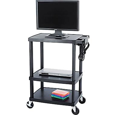 Safco® Plastic Media Carts Plastic, Black, 3 shelves
