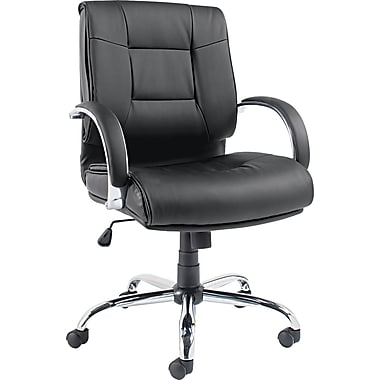 Alera Ravino Leather Executive Office Chair, Fixed Arms, Black (ALERV42LS10C)
