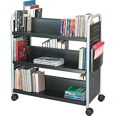 Safco ® Scoot Book Carts Steel, Black