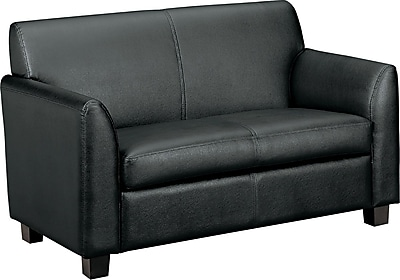 basyx by HON® VL872 Tailored Two-Cushion Loveseat, Black SofThread™ Leather (BSXVL872SB11)