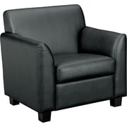 basyx by HON® VL871 Tailored Club Chair, Black SofThread™ Leather (BSXVL871ST11)