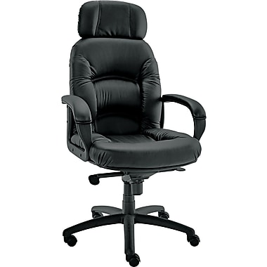Alera ALENI41CS10B Nico Faux Leather High-Back Managers Chair with Fixed Arms, Black
