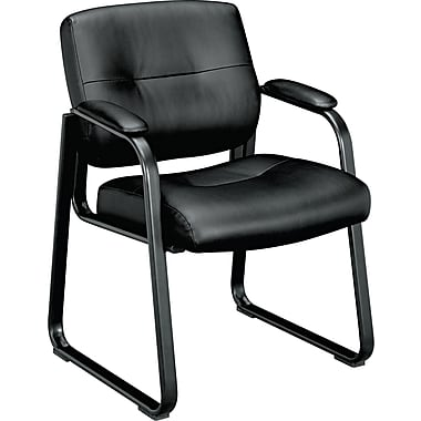 basyx by HON® VL693 Leather Sled Base Guest Chair, Black SofThread Leather (BSXVL693SB11)