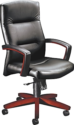 HON Park Avenue Leather Executive Office Chair, Fixed Arms, Black/Mahogany (H5001NSS11)