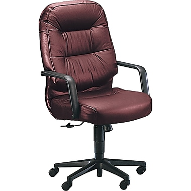 HON® HON2091SR69T Pillow-Soft® Leather Executive High-Back Chair with Fixed Arms, Burgundy