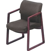 HON® 2400 Series Fabric Sled Base Guest Chair, Gray/Mahogany (HON2403NAB12)