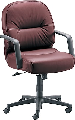 HON Pillow-Soft Fabric Computer and Desk Office Chair, Fixed Arms, Burgundy (H2092HSR69T)