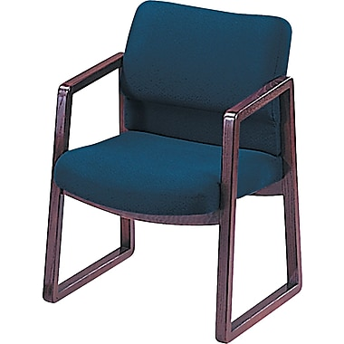 HON® 2400 Series Fabric Sled Base Guest Chair, Blue/Mahogany (HON2403NAB90)