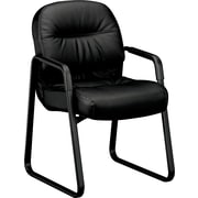 Pillow-Soft® HON® 2090 Leather Sled-Based Guest Arm Chair, Black