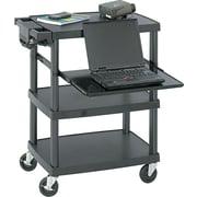 """Safco® Mobile Height-adjustable AV Cart - 3 Shelf, Black, 34 3/4""""H x 27 3/4""""W x 18 3/4""""D"""