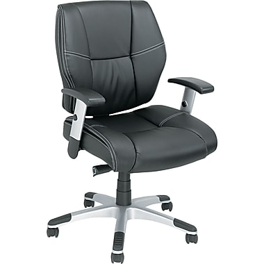 Alera Napoleon Leather Managers Office Chair, Adjustable Arms, Black (ALENP42LS10S)