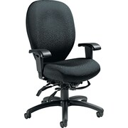 Global 27803T610 Mallorca Polyester/Polypropylene High-Back Task Chair with Adjustable Arms, Black