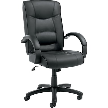 Alera ALESR41LS10B Strada Leather High-Back Executive Chair with Fixed Arms, Black