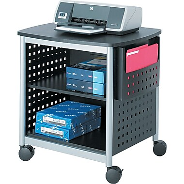 Safco® Mobile Deskside/Underdesk Machine Stands, Black/Silver