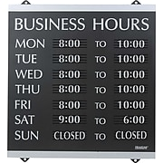 "Business Hours Sign, 14x13"", Black/Silver, Caution Sign"