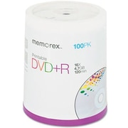 DVD+R Recordable Discs, Ink Jet Print, 4.7GB, Silver, 100/Pack