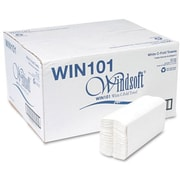 """Windsoft® Folded Paper Towels, Embossed, 1-Ply, 2,400/Ct, 200 Sheets per Pack, White, 10-1/10 x 13-1/5"""" sheet size"""
