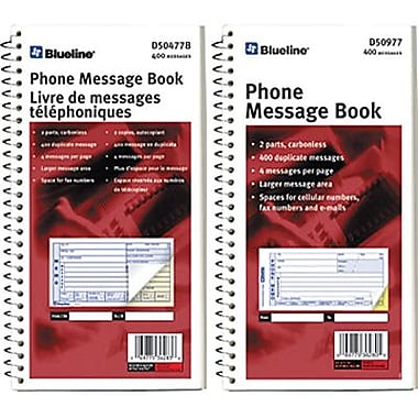 Blueline® Telephone Message Books, 11-1/8