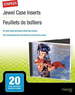 Staples® Jewel Case Inserts, 20/Pack