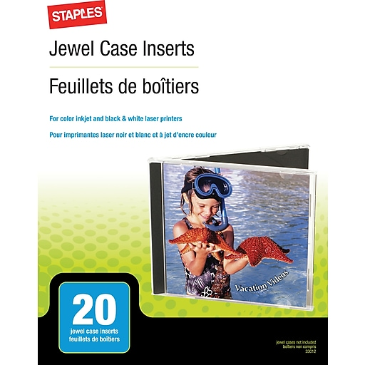 staples jewel case inserts 20 pack staples