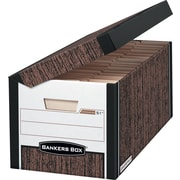 Bankers Box Systematic Medium-Duty FastFold Storage Boxes with Attached Flip-Top Lid, Letter, Woodgrain, 12/Ct (00051)