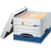 "BANKERS BOX STOR/FILE™ Medium-Duty Storage Boxes, Letter/Legal, Stacking Strength 550 lb., White/Blue, 10""H x 12""W x 15""D, 12/Ct"