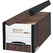 Bankers Box Systematic Medium-Duty FastFold File Storage Boxes, Flip-Top Lid, Letter/Legal Size, Woodgrain, 12/Ct (00052)