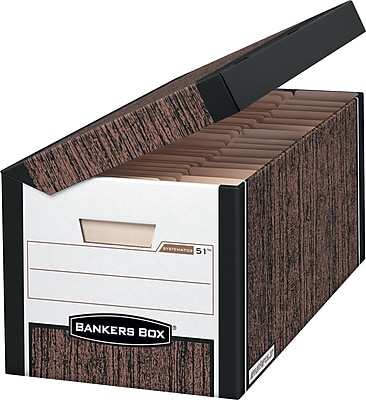 Bankers Box Systematic Medium-Duty FastFold Storage Boxes with Attached Flip-Top Lid, Letter/Legal, Woodgrain, 12/Ct (00052)