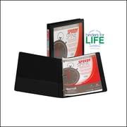 Samsill Speedy Spine™ Time Saving / Easy Spine Label Inserting 3 Ring View Binder, .5 Inch Round Ring, Black (SAM18110C)