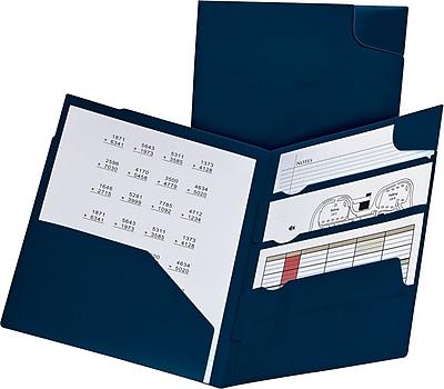 Oxford Divide-It-Up® 4-Pocket Poly Folder, Letter, Navy