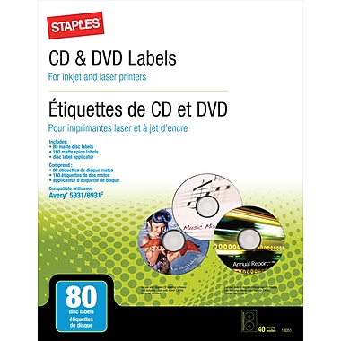 Staples® CD/DVD Media Labels, 80-Pack