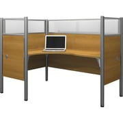 Bestar Pro-Biz Office System Single Left L-Desk Workstation, Additional Privacy Panels, Full Wall, Cappuccino Cherry