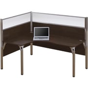 Bestar Pro-Biz Office System Single Left L-Desk Workstation, Full Wall, Chocolate
