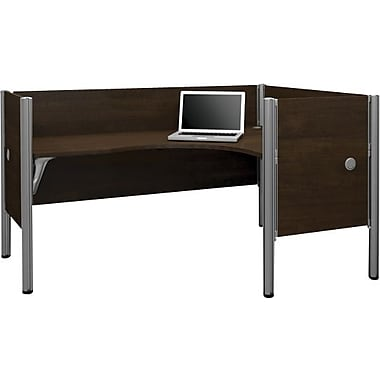 Bestar Pro-Biz Office System Single Right L-Desk Workstation, Additional Privacy Panels, 3/4 Wall, Chocolate