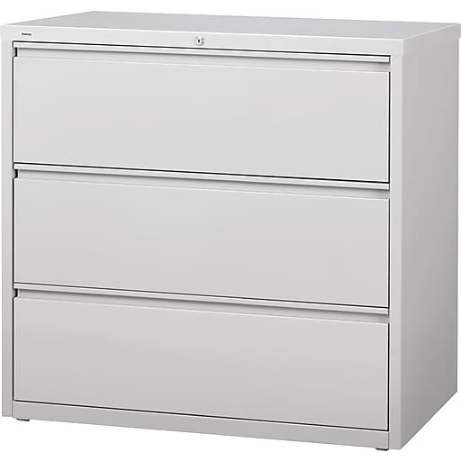 Staples Commercial 42 Wide 3 Drawer Lateral File Cabinet Light Gray