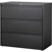 "Staples Commercial 42"" Wide 3-Drawer Lateral File Cabinet, Black"