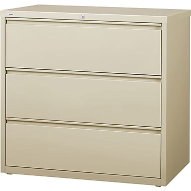 Staples Branded Commercial 3 Drawer Lateral File Cabinet, Putty, 42