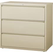"Staples  Commercial 3 Drawer Lateral File Cabinet, Putty, 42"" Wide"