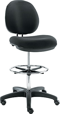 Alera® Interval Faux Leather Swivel Task Stool, Black
